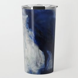 Contemporary Blue Raven Weather Abstract Painting  Travel Mug