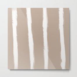 Medium Brush Strokes Vertical Off White on Nude Metal Print
