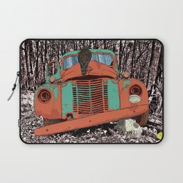 Old speed wagon with a wolf skull and a hawk. Laptop Sleeve
