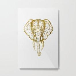Elefante - Gold Metal Print