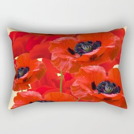 RED ORIENTAL POPPIES ON CREAM COLOR Rectangular Pillow