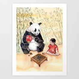 Playing Go with Panda Art Print