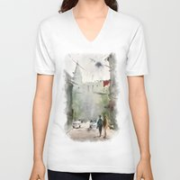 street art V-neck T-shirts featuring Street by Baris erdem