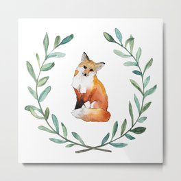 Fox Wreath Metal Print
