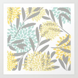 Floral Prints, Leaves and Blooms, Gray, Yellow and Aqua Art Print