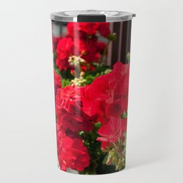 Bunches of vibrant red Pelargonium Travel Mug