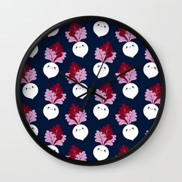 Cute white beetroots Wall Clock