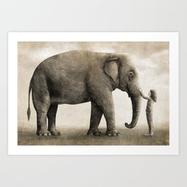 One Amazing Elephant - sepia option Art Print