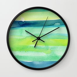 Spring Colors Stripes Pattern Blue Green Yellow Wall Clock