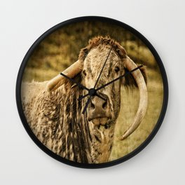 Vintage Longhorn Cattle Wall Clock