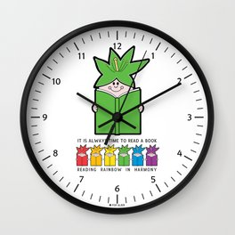 Reading Rainbow in Harmony - Green Wall Clock