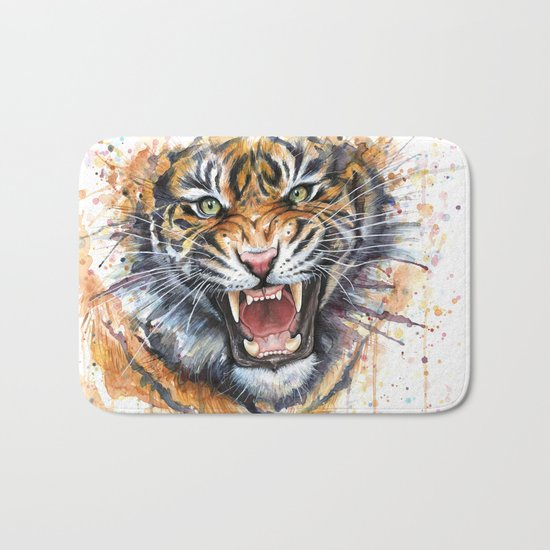 Tiger Watercolor Wild Animal Jungle Animals Bath Mat
