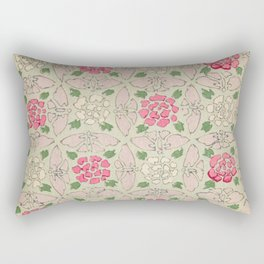 Vintage Pink and Sea Green Floral Pattern Rectangular Pillow
