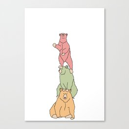 stacked bears Canvas Print