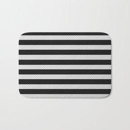 Sleepy Black and White Stripes Bath Mat