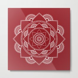 Mandala 01 - White on Burgundy Metal Print