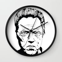 christopher walken Wall Clocks featuring Christopher Walken by Sheena White for Winsome Gallery