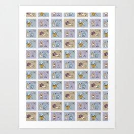 Quartz Crystal Magic Postage Stamps Art Print
