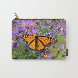 Monarch Butterfly on Wild Aster Flower Carry-All Pouch