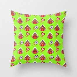 Magical gingerbread houses, colorful candy lollipops. Retro vintage cozy Christmas pattern Throw Pillow