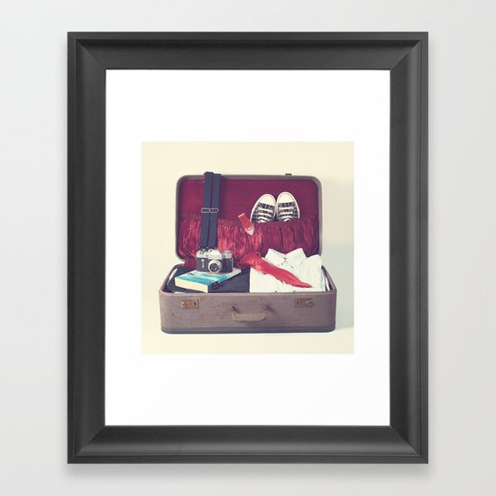 Vintage Journey Suitcase (His) (Retro and Vintage Still Life Photography) Framed Art Print