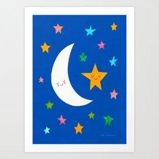Goodnight Sky Collage Art Print