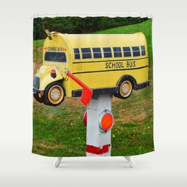 School Bus Mailbox Shower Curtain