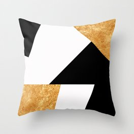 Corners in Black White Gold Throw Pillow