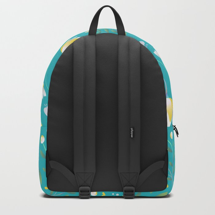 Colourscape Summer Floral Pattern Turquoise Lemon Backpack