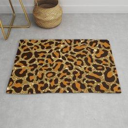 Gold Glitter Leopard Spots Rug