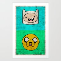 finn and jake Art Prints featuring Finn & Jake by WolfFace