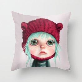 Red bear doll Throw Pillow