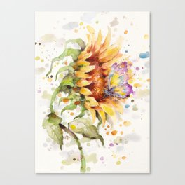 Hand In Hand (Butterfly & Sunflower) Canvas Print