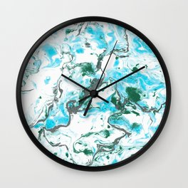 White and blue Marble texture acrylic Liquid paint art Wall Clock