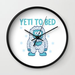 Christmas Snow Yeti For Bed Collection Snowy Winter Apparel T-shirt Design Bigfoot Aped-like Animal Wall Clock