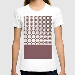 Pantone Cannoli Cream Square Petal Pattern on Pantone Red Pear T-shirt