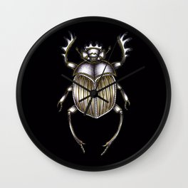 Scarab's Curse in Black Wall Clock