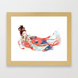 Watercolor Chinese Beauty -  Feitian Framed Art Print