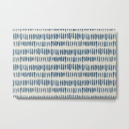 Blue & Linen White Bold Grunge Vertical Stripe Dash Line Pattern Pairs To 2020 Color of the Year Metal Print