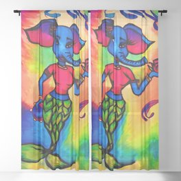Beautiful Blue Elephant Mermaid with Red Rose and Tambourine Sheer Curtain
