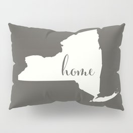 New York is Home - White on Charcoal Pillow Sham