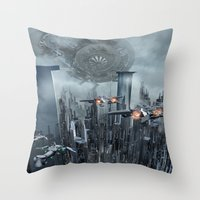 sci fi Throw Pillows featuring Sci-Fi City by Michael Lenehan
