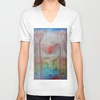coral V-neck T-shirts featuring Coral by Terese Dombrowski
