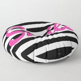 Smile, black stripes, motivational poster, typography poster Floor Pillow