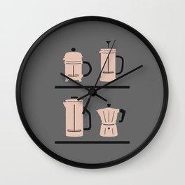 Volturno & French Press Coffee #4 medium grey & vintage pink Wall Clock