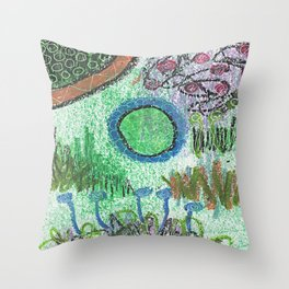 The Blues Garden Throw Pillow