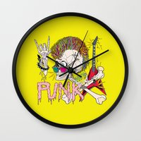 punk Wall Clocks featuring Punk by dogooder