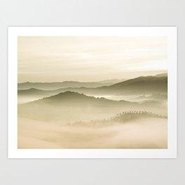 Pastel Blue Green Sepia Sunset Mountains layered parallax Landscape Minimalist Landscape Art Print