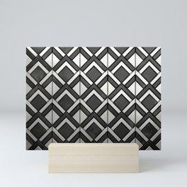 Cascading Squares Black and Silver - Art Deco Pattern Mini Art Print
