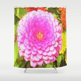 Pretty Round Pink Zinnia in the Summer Garden Shower Curtain